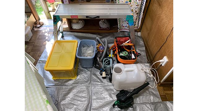 エアコン掃除の荷物